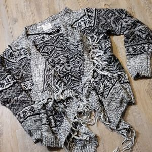 Black and white cozy knit cardigan